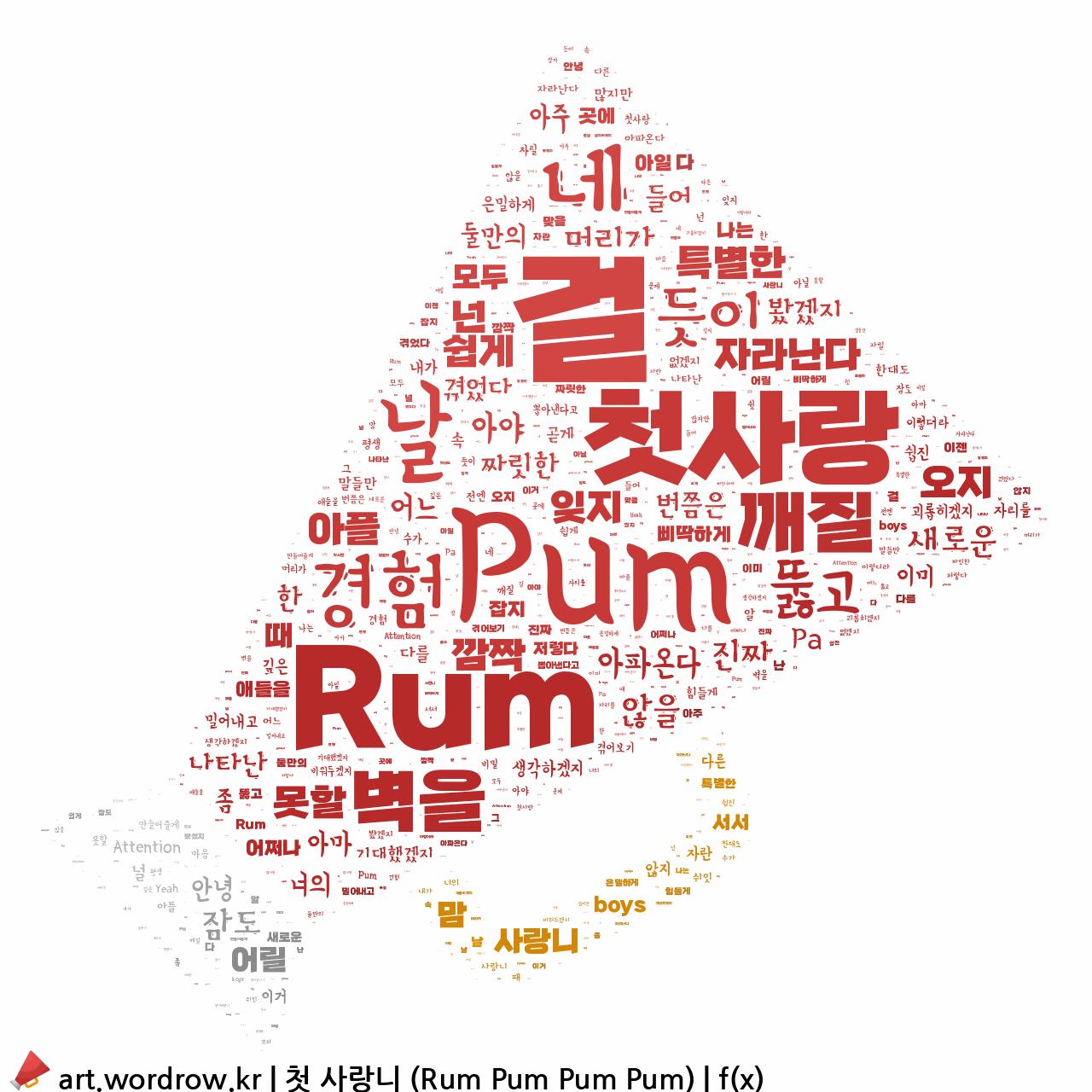 워드 클라우드: 첫 사랑니 (Rum Pum Pum Pum) [f(x)]-44